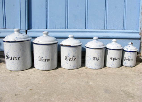 French Blue Enamel Canister Set Vintage Six Piece From